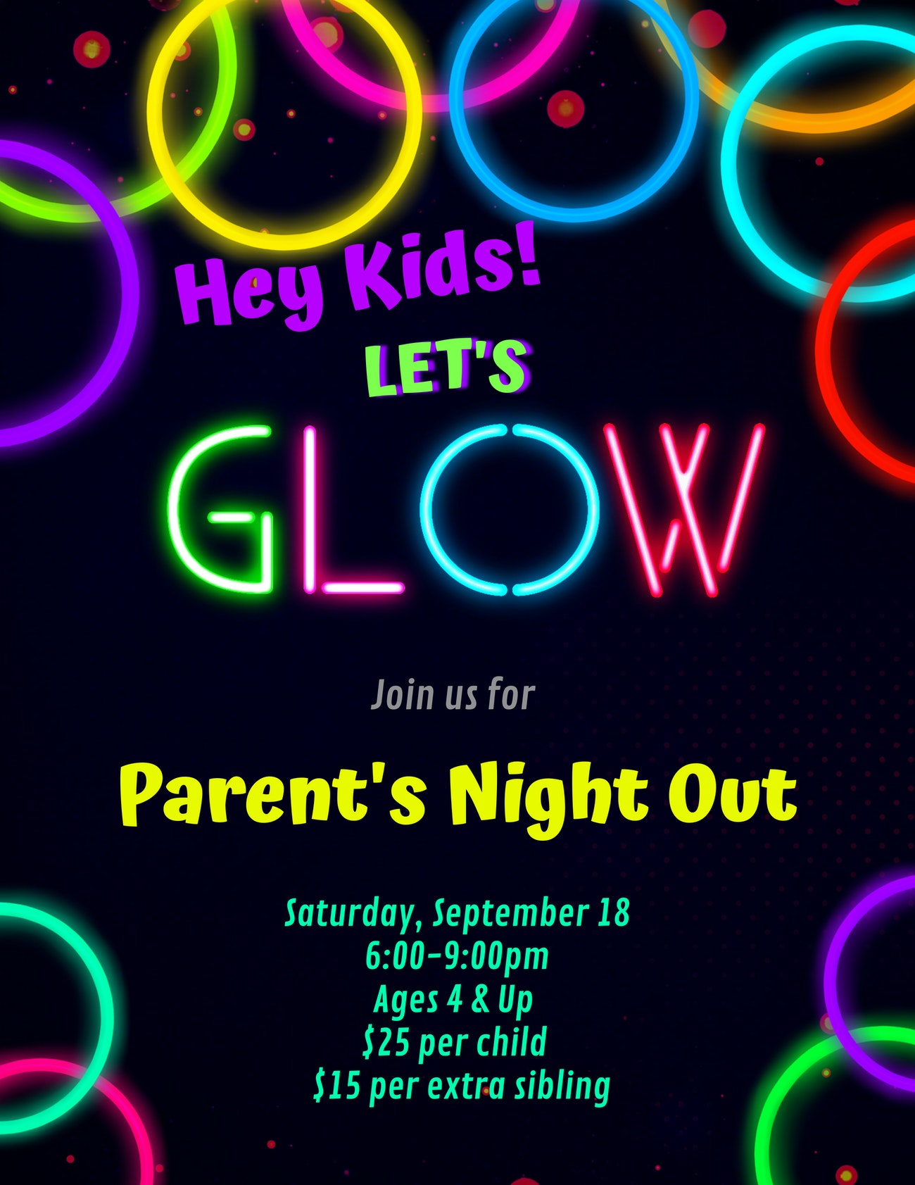 Glow in the Dark Party!  (Parents Night Out)